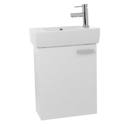 Cubical 19 Single Wall Mount Bathroom Vanity Set Base Finish: Glossy White
