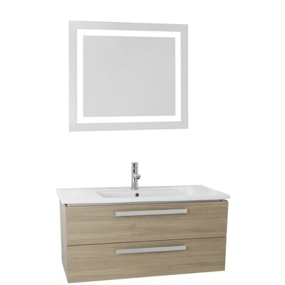 Dadila 38.2 Single Bathroom Vanity Set with Mirror Base Finish: Style Oak
