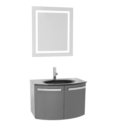Crystal Dance 28 Single Bathroom Vanity Set with Mirror Base Finish: Glossy White, Top Finish: White