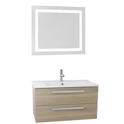 Dadila 24.4 Single Bathroom Vanity Set with Mirror Base Finish: Style Oak