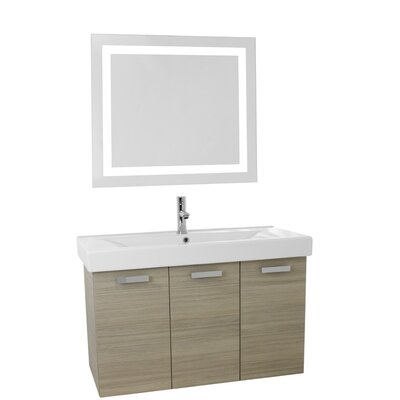 Cubical 39.4 Single Bathroom Vanity Set with Mirror Base Finish: Larch Canapa