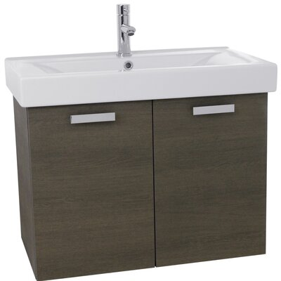 Cubical 32 Single Wall Mount Bathroom Vanity Set Base Finish: Gray Oak