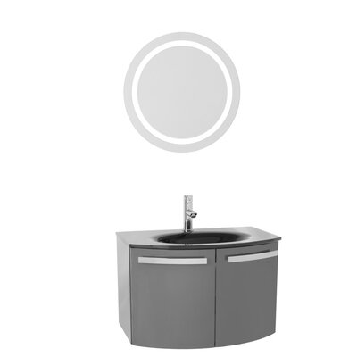 Crystal Dance 28 Single Bathroom Vanity Set with Mirror Top Finish: White, Base Finish: Glossy Anthracite
