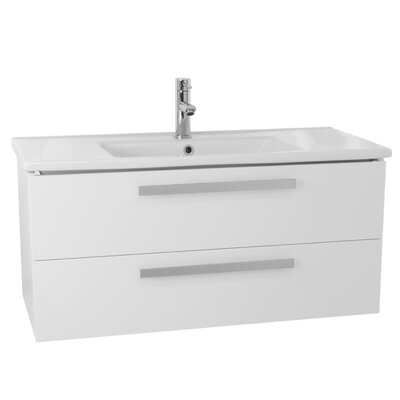 Dadila 32.7 Single Wall Mount Bathroom Vanity Set Base Finish: Glossy White
