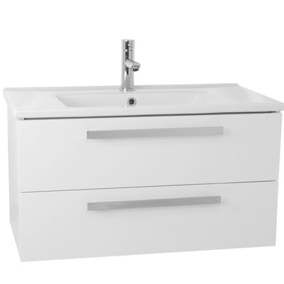Dadila 33 Single Wall Mount Bathroom Vanity Set Base Finish: Glossy White