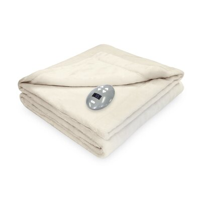 Low Voltage Technology Heated Electric Velvet Plush Warming Blanket Color: Natural Vanilla, Size: Twin