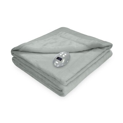 Low Voltage Technology Heated Electric Velvet Plush Warming Blanket Size: Queen, Color: Seaside Blue