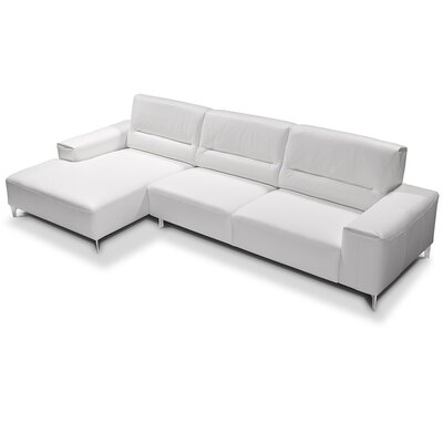 Castiglia Leather Sectional Upholstery: White, Orientation: Left Hand Facing