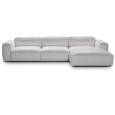 Fanelli Leather Modular Sectional Orientation: Right Hand Facing, Upholstery: White