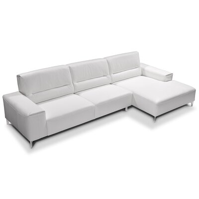 Castiglia Leather Sectional Upholstery: White, Orientation: Right Hand Facing