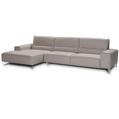 Castiglia Leather Sectional Upholstery: Perl Gray, Orientation: Left Hand Facing