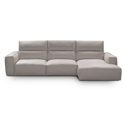 Savini Leather Sectional Upholstery: Pearl Gray, Orientation: Right Hand Facing