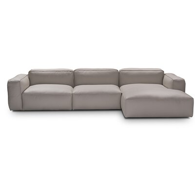 Fanelli Leather Sectional Upholstery: Pearl Gray, Orientation: Right Hand Facing