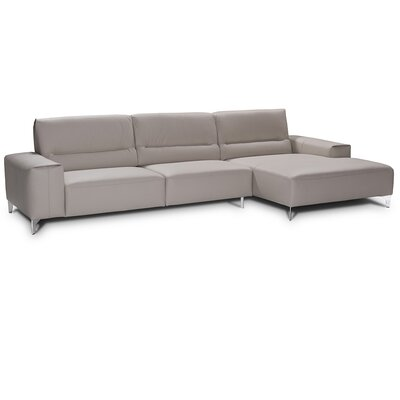 Castiglia Leather Sectional Upholstery: Perl Gray, Orientation: Right Hand Facing