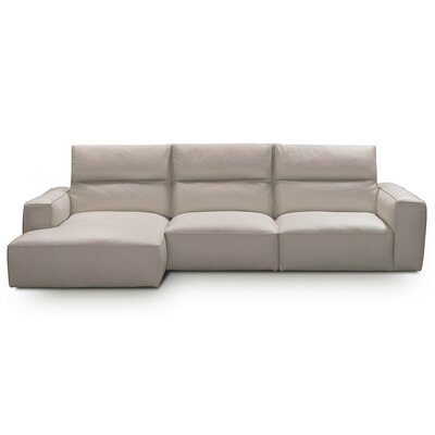 Savini Leather Sectional Upholstery: Milk White, Orientation: Left Hand Facing