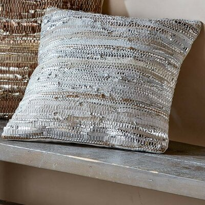 Scrap Leather Throw Pillow Color: Silver