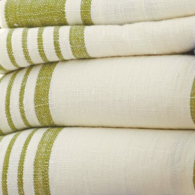 Stripe Pure Linen Bath Towel Color: Green