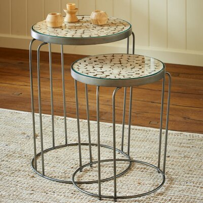 Eucalyptus 2 Piece Nesting Tables Finish: Gunmetal