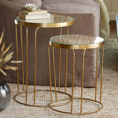 Eucalyptus 2 Piece Nesting Tables Finish: Gold