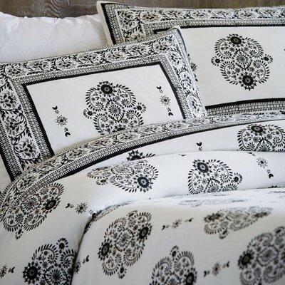 Paisley Block Print 3 Piece Duvet Set Color: Black