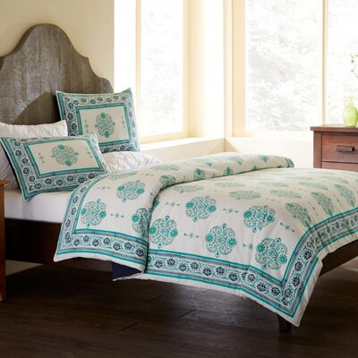 Paisley Block Print 3 Piece Duvet Set Color: Aqua