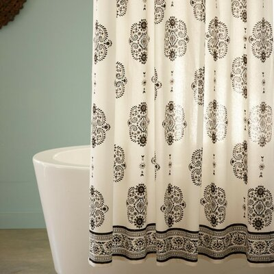 Mirror Paisley Cotton Shower Curtain Color: Black