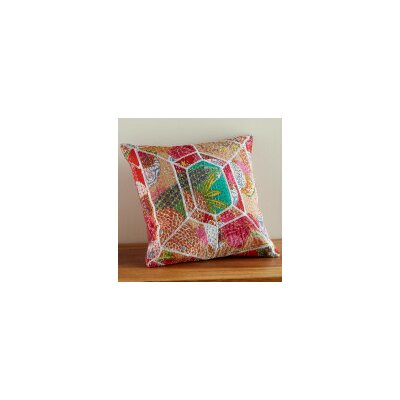 Kantha Stitched Sari Diamond Patch Throw Pillow