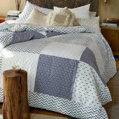 Block-Printed Patchwork Mix 3 Piece Reversible Duvet set
