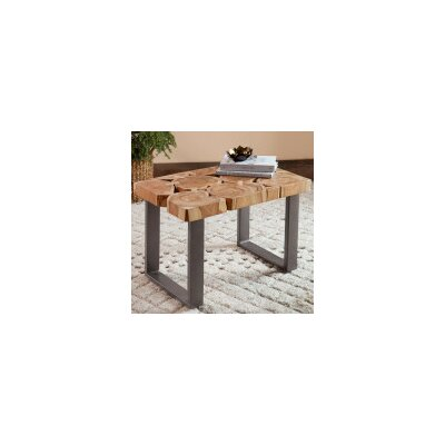 Recycled Indian Teak Wood Slice End Table
