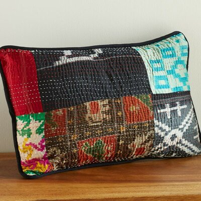 Kantha Stitched Sari Patch Lumbar Pillow