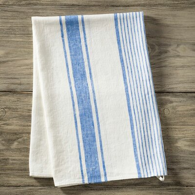 Stripe Pure Linen Bath Towel Color: Blue