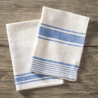 Stripe Pure Linen Hand Towel Color: Blue