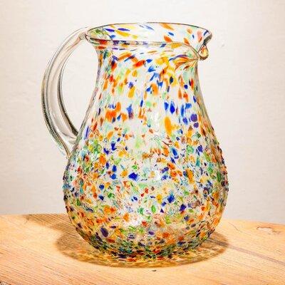 Crestline Hand Blown Rainbow Confetti Recycled Glass 64 oz. Pitcher BLMT8564 43204508