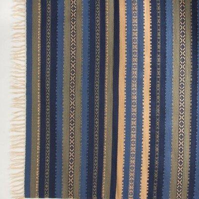 Croslin Hand-Woven Cotton Ocean Stripe Area Rug