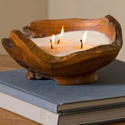 Handcrafted Teak Wood Bowl Unscented Novelty Candle FNDS1517 43204479