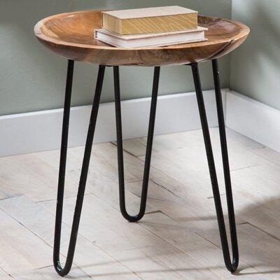 Mina Teak Wood and Metal End Table