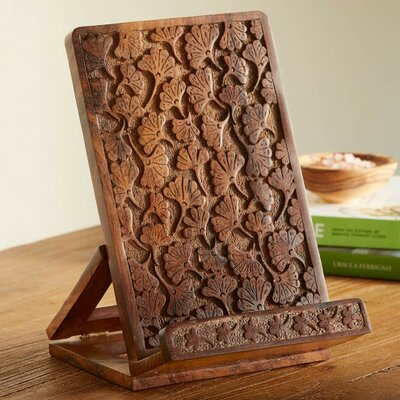 Handcarved Ginkgo Cookbook and iPad Holder