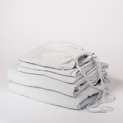Linen Sheet Set Size: King, Color: Ice Blue