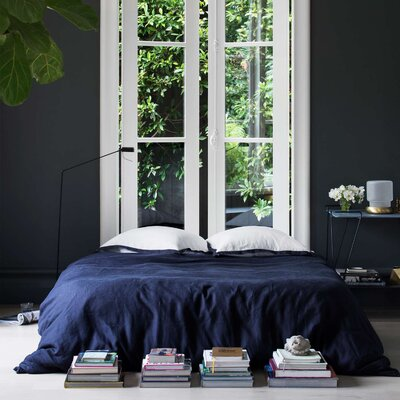 3 Piece Duvet Cover Set Size: King, Color: Navy