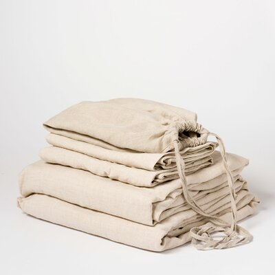 Linen Sheet Set Color: Natural, Size: Queen
