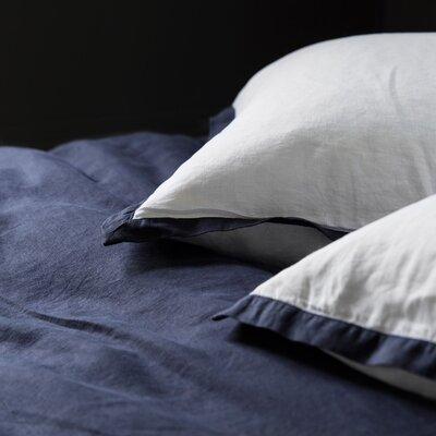 Linen Euro Pillowcase Size: Euro, Color: White / Navy