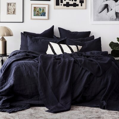 Linen Bedspread Color: Navy