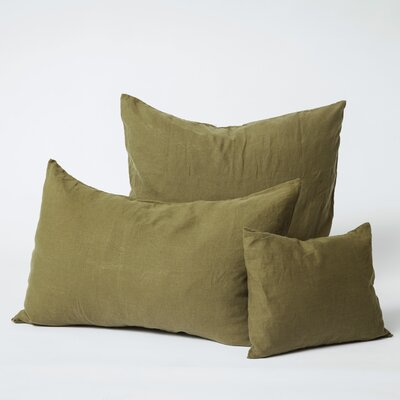 Linen Euro Pillowcase Size: Standard, Color: Olive