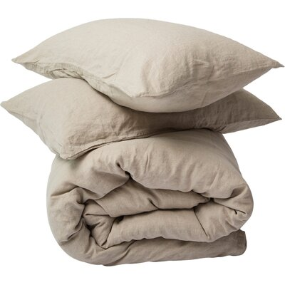 3 Piece Duvet Cover Set Size: King, Color: Natural