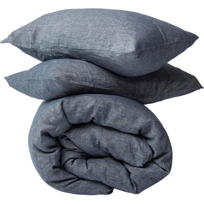 3 Piece Duvet Cover Set Size: King, Color: Indigo