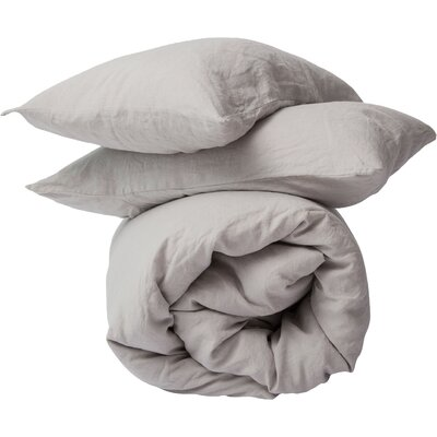 3 Piece Duvet Cover Set Size: King, Color: Smoke Gray