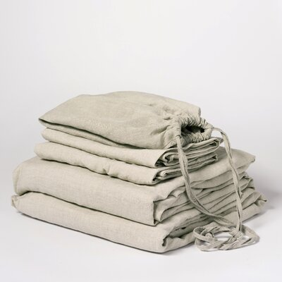 Linen Sheet Set Color: Sage, Size: Queen