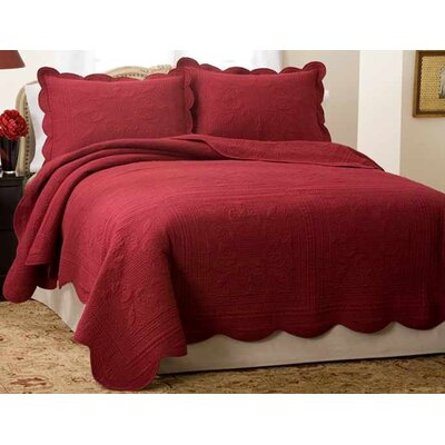 Gilles Cotton Bedspread Size: Queen, Color: Blue