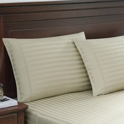 Colley Cotton Woven Damask Stripe Pillowcases Color: Taupe