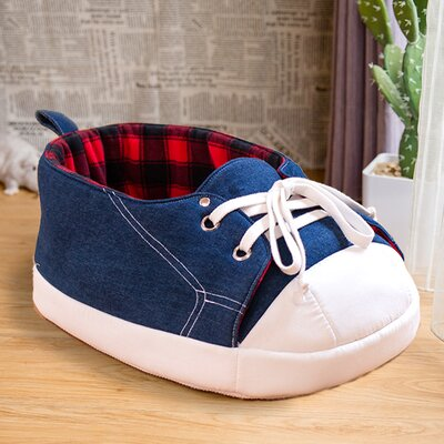 Claire Sneaker Pet Bed with Black and Red Tartan Fleece